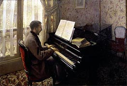 Young Man Playing the Piano, 1876 by Caillebotte | Painting Reproduction