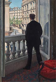 Young Man at His Window, 1876 by Caillebotte | Painting Reproduction