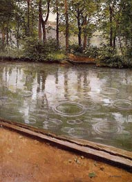 The Yerres, Rain (Riverbank in the Rain) | Caillebotte | Painting Reproduction