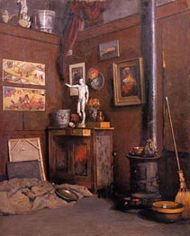Interior of a Studio with Stove, c.1872/74 by Caillebotte | Painting Reproduction