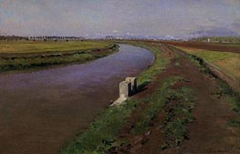 The Banks of a Canal, mear Naples, c.1892 by Caillebotte | Painting Reproduction