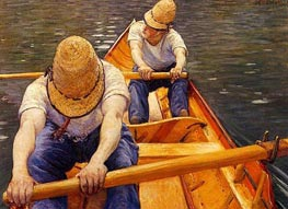 Oarsmen, 1877 by Caillebotte | Painting Reproduction