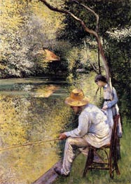 Fishing, 1878 by Caillebotte | Painting Reproduction