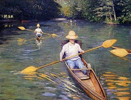 Skiffs, 1877 by Caillebotte | Painting Reproduction