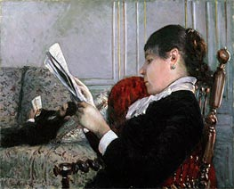 Interior, Woman Reading | Caillebotte | Gemälde Reproduktion