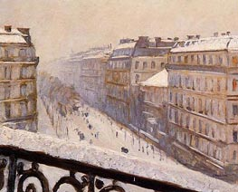 Boulevard Haussmann, Snow | Caillebotte | Painting Reproduction