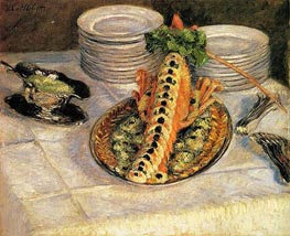 Still Life with Crayfish, c.1880/82 by Caillebotte | Painting Reproduction
