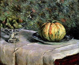 Melon and Fruit Bowl with Figs | Caillebotte | Painting Reproduction