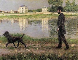 Richard Gallo and His Dog, at Petit Gennevilliers | Caillebotte | Painting Reproduction