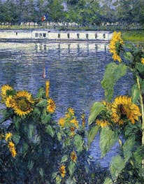 Sunflowers on the Banks of the Seine | Caillebotte | Painting Reproduction