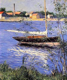Anchored Boat on the Seine at Argenteuil | Caillebotte | Painting Reproduction