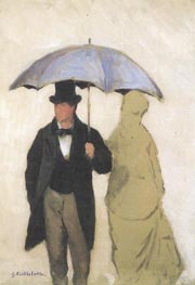 Study of a Couple uner an Umbrella, 1877 by Caillebotte | Painting Reproduction