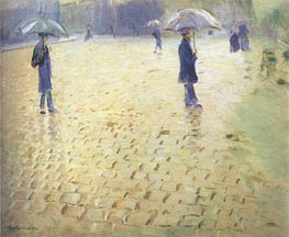 Paris Street Rainy Day, 1877 by Caillebotte | Painting Reproduction