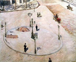 Traffic Island on Boulevard Haussmann, 1880 by Caillebotte | Painting Reproduction