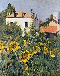 Sunflowers, Garden at Petit Gennevilliers, 1885 by Caillebotte | Painting Reproduction