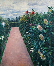 Garden Path with Dahlias in Petit Gennevilliers, c.1890/91 by Caillebotte | Painting Reproduction