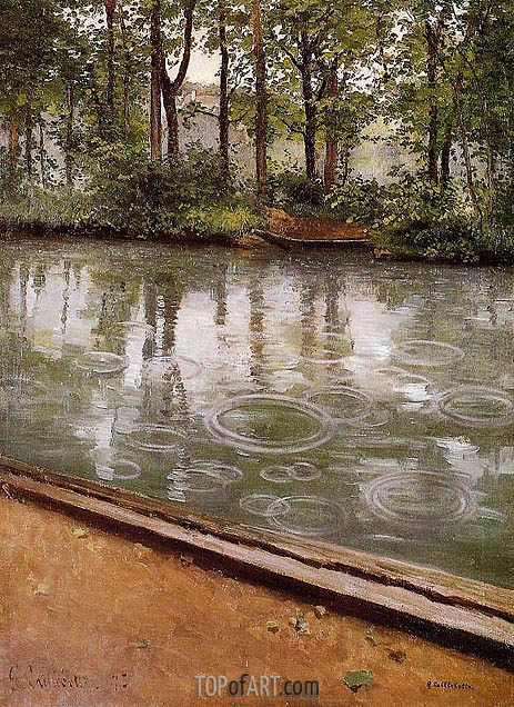 The Yerres, Rain (Riverbank in the Rain), 1875 | Caillebotte | Painting Reproduction