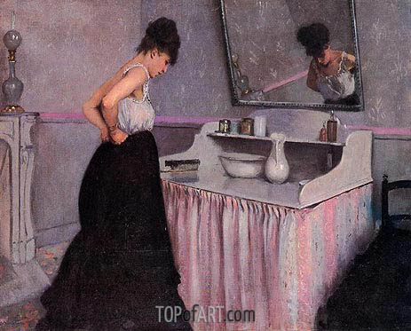 Woman at a Dressing Table, c.1873 | Caillebotte | Gemälde Reproduktion