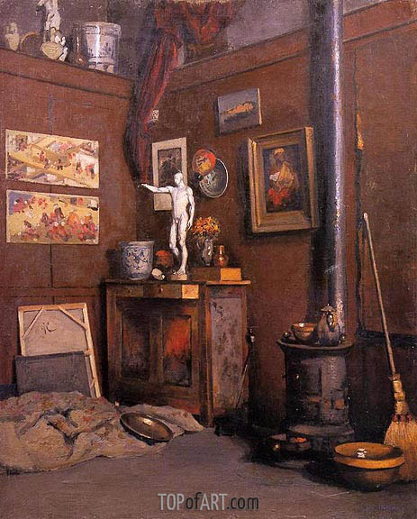 Interior of a Studio with Stove, c.1872/74 | Caillebotte | Painting Reproduction