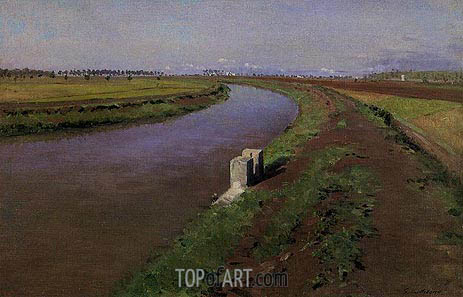 The Banks of a Canal, mear Naples, c.1892 | Caillebotte | Gemälde Reproduktion