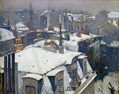 View of Roofs (Snow Effect), 1878 | Caillebotte | Painting Reproduction