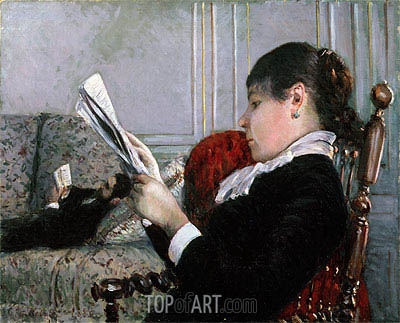 Interior, Woman Reading, 1880 | Caillebotte | Gemälde Reproduktion