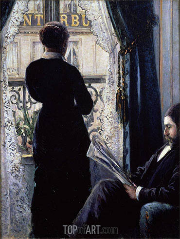 Interior, Woman at the Window, 1880 | Caillebotte | Painting Reproduction