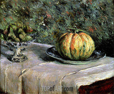 Melon and Fruit Bowl with Figs, c.1880/82 | Caillebotte | Gemälde Reproduktion