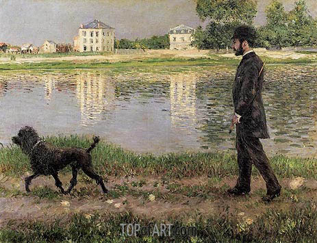Richard Gallo and His Dog, at Petit Gennevilliers, 1884 | Caillebotte | Painting Reproduction
