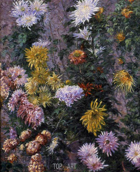White and Yellow Chrysanthemims, 1893 | Caillebotte | Painting Reproduction