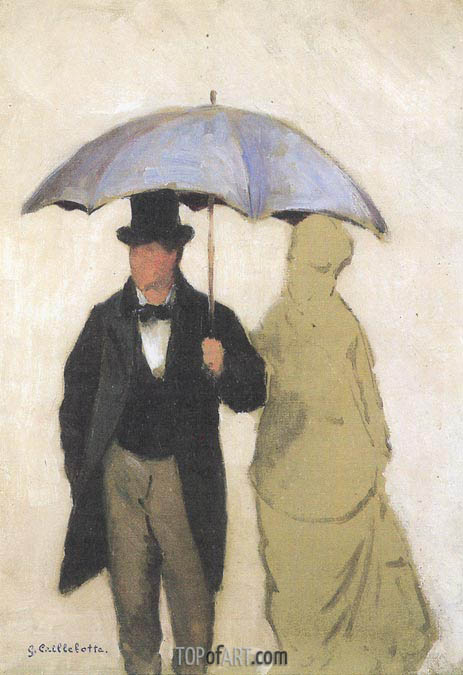 Study of a Couple uner an Umbrella, 1877 | Caillebotte | Painting Reproduction