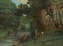 Roe Deer at a Stream, 1868 by Courbet | Painting Reproduction