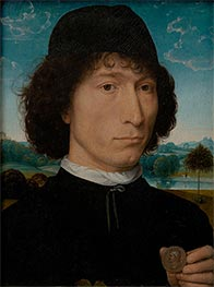 Portrait of a Man with a Roman Coin, c.1480 by Hans Memling | Painting Reproduction