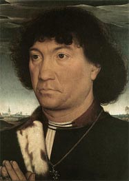 Portrait of a Man at Prayer before a Landscape | Hans Memling | Painting Reproduction