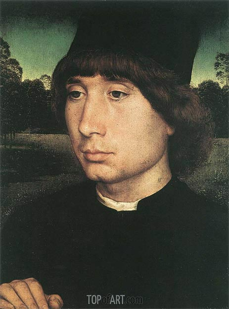 Portrait of a Young Man before a Landscape, c.1480 | Hans Memling | Gemälde Reproduktion
