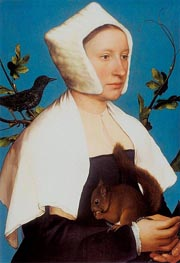 Portrait of a Lady with a Squirrel and a Starling, c.1527/28 by Hans Holbein | Painting Reproduction