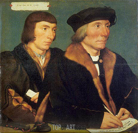 Portrait of Sir Thomas Godsalve and His Son John, 1528 | Hans Holbein | Painting Reproduction