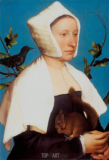Portrait of a Lady with a Squirrel and a Starling, c.1527/28 | Hans Holbein | Gemälde Reproduktion