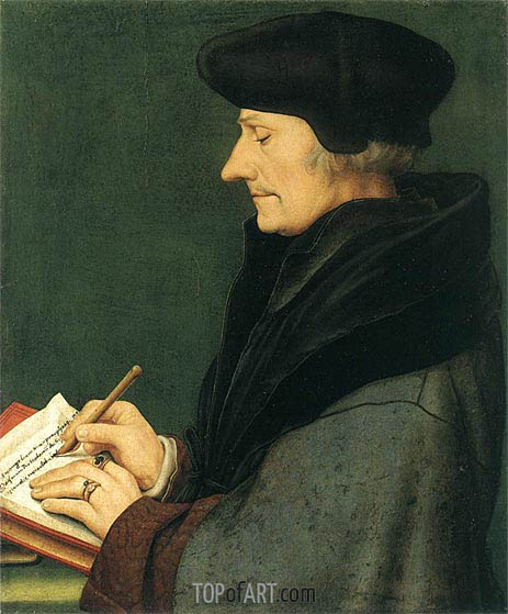 Portrait of Erasmus of Rotterdam Writing, 1523 | Hans Holbein | Painting Reproduction