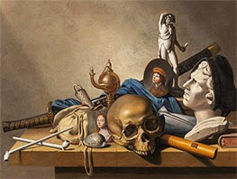 A Vanitas Still Life with a Bust, a standing Sculpture and  Skull, c.1650 by Harmen Steenwijck | Painting Reproduction