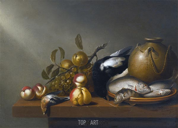 Still Life of Fruit, Fish on an earthenware Platter, c.1640 | Harmen Steenwijck | Painting Reproduction
