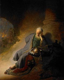 Jeremiah Lamenting the Destruction of Jerusalem, 1630 von Rembrandt | Gemälde-Reproduktion