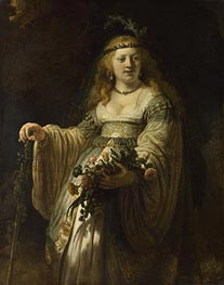 Flora (Saskia van Uylenburgh in Arcadian Costume) | Rembrandt | Painting Reproduction
