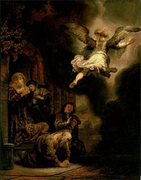 The Archangel Leaving the Family of Tobias, 1637 von Rembrandt | Gemälde-Reproduktion