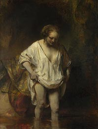 A Woman Bathing in a Stream (Hendrickje Stoffels) | Rembrandt | Painting Reproduction
