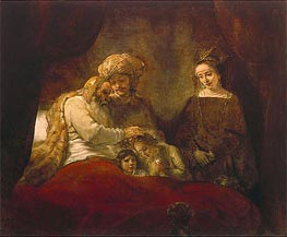 Jacob Blessing the Children of Joseph, 1656 von Rembrandt | Gemälde-Reproduktion