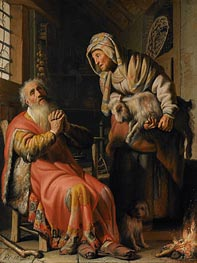 Tobit and Anna with a Kid | Rembrandt | Painting Reproduction