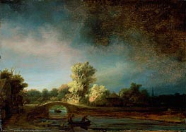 Landscape with Stone Bridge, c.1638 von Rembrandt | Gemälde-Reproduktion