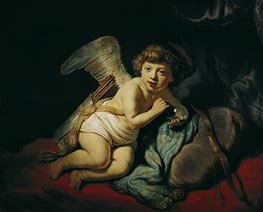 Cupid with the Soap Bubble, 1634 von Rembrandt | Gemälde-Reproduktion