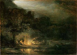 The Rest of the Flight into Egypt | Rembrandt | Gemälde Reproduktion